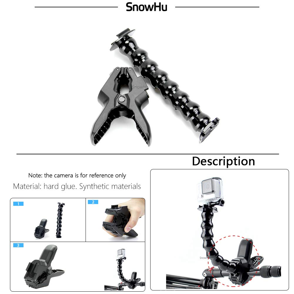 for GoPro Accessories Jaws Flex Clamp Mount and Adjustable Neck for GoPro Hero 7 6 5 4 3+sjcam for xiaomi Yi Camera GP152
