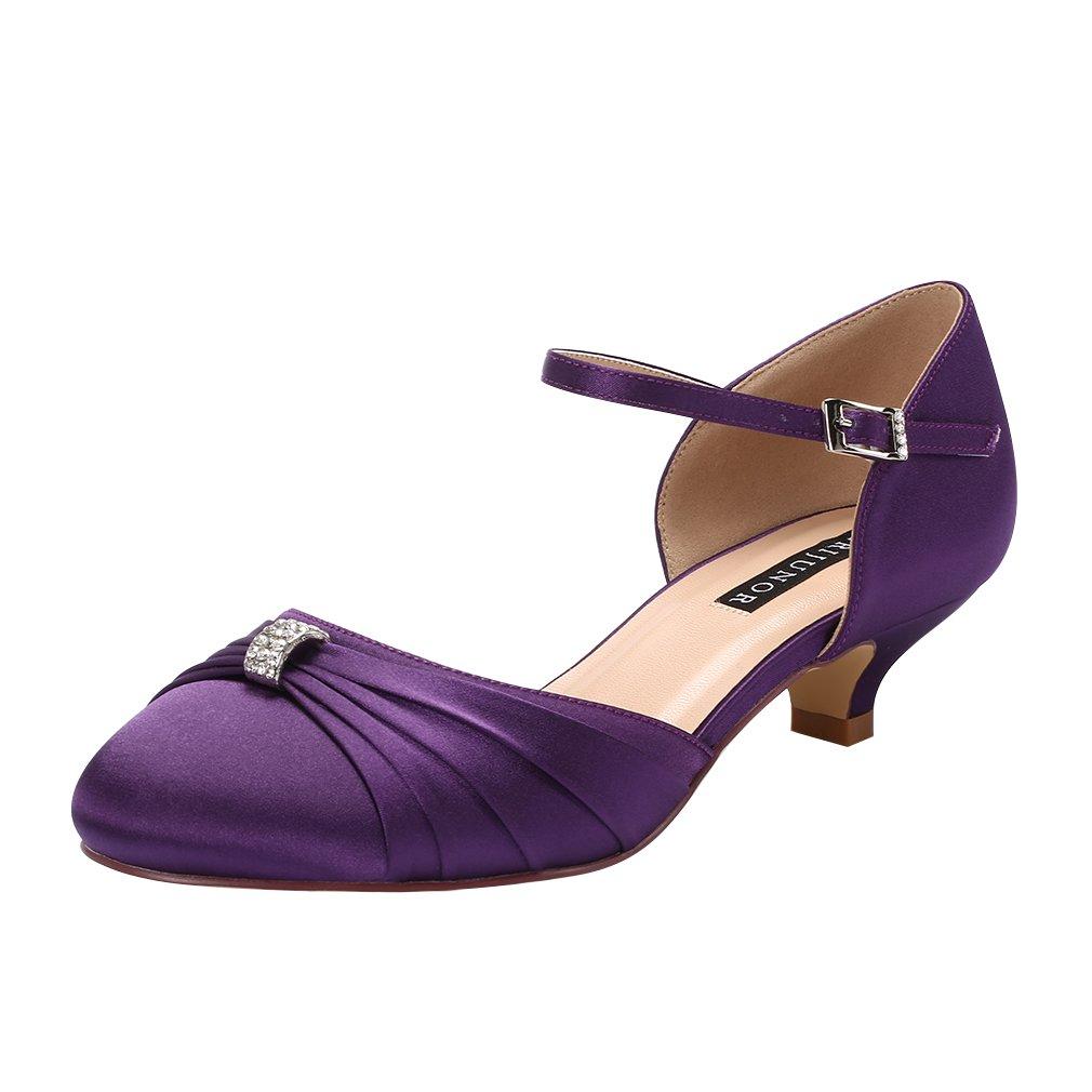 ERIJUNOR Women Comfort Low Kitten Heel Buckle Ankle Strap Dyeable Satin Bridal Wedding Shoes B0799JKKVF 5 B(M) US|Purple