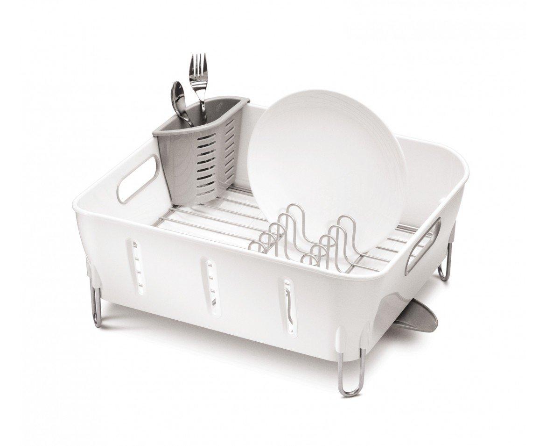 simplehuman Compact Dish Rack, White Plastic by simplehuman