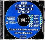 All Models 1981 Chrysler Dodge Plymouth Passenger Cars CD Repair Shop Manual 81