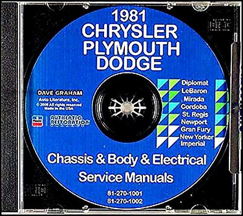 All Models 1981 Chrysler Dodge Plymouth Passenger Cars CD Repair Shop Manual 81 -