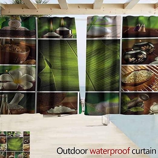 AndyTours Cortina de Puerta corredera, SPA Estilo SPA asiático arreglo con Zen Stones Vela Flores y Arte de bambú, Burletes de Bloqueo, Color Blanco, Verde y Negro: Amazon.es: Jardín