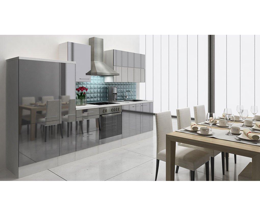 respekta Küchenleerblock 310 cm Weiß Grau Hochglanz