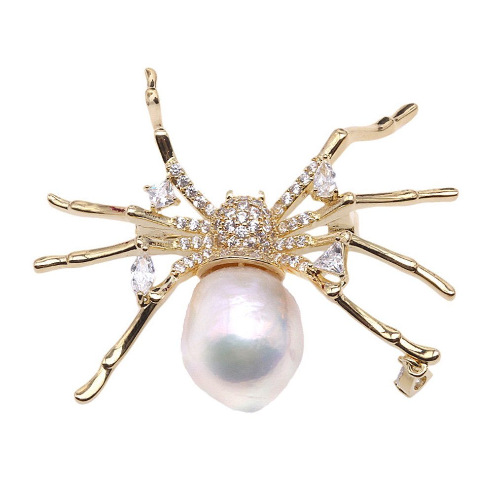 JYX Spider Brooch Huge 14.5x19mm White Freshwater Baroque Pearl Brooch Pin