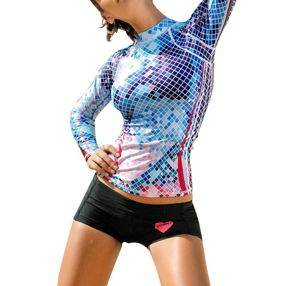 HIENAJ Women's Long Sleeve Rash Guard Swimsuit Printed Slim Fit Dive Skin UV Shirts W_0814RashGuard01