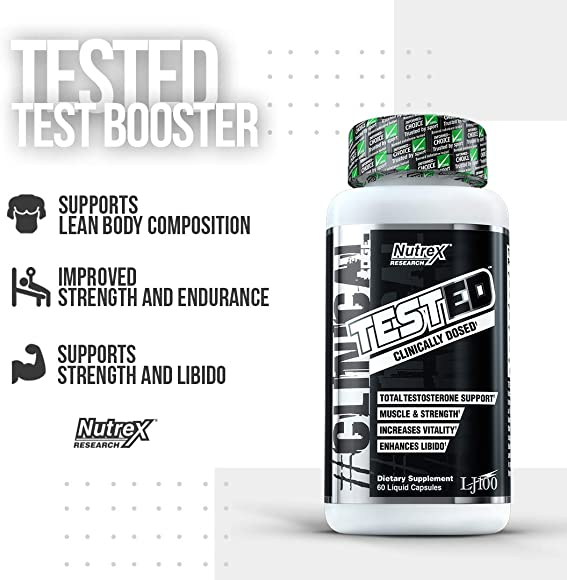 Nutrex Research Tested Testosterone Booster, Stamina, Strength, Energy, Recovery Tongkat Ali, LJ100, Eurycoma Longfolia, Longjack 60 Count