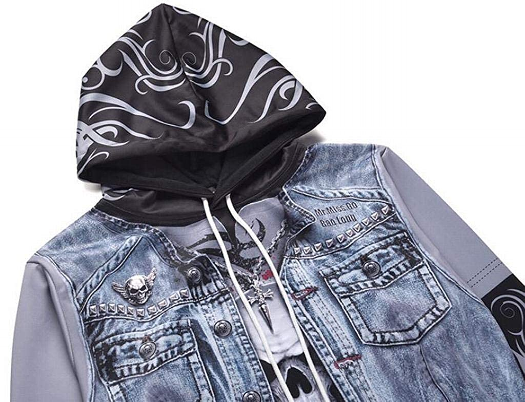 Fubotevic Men 3D Print Plus Size Fake Two Pieces 3D Skull Print Floral Printed Pullover Hoodie Sweatshirt