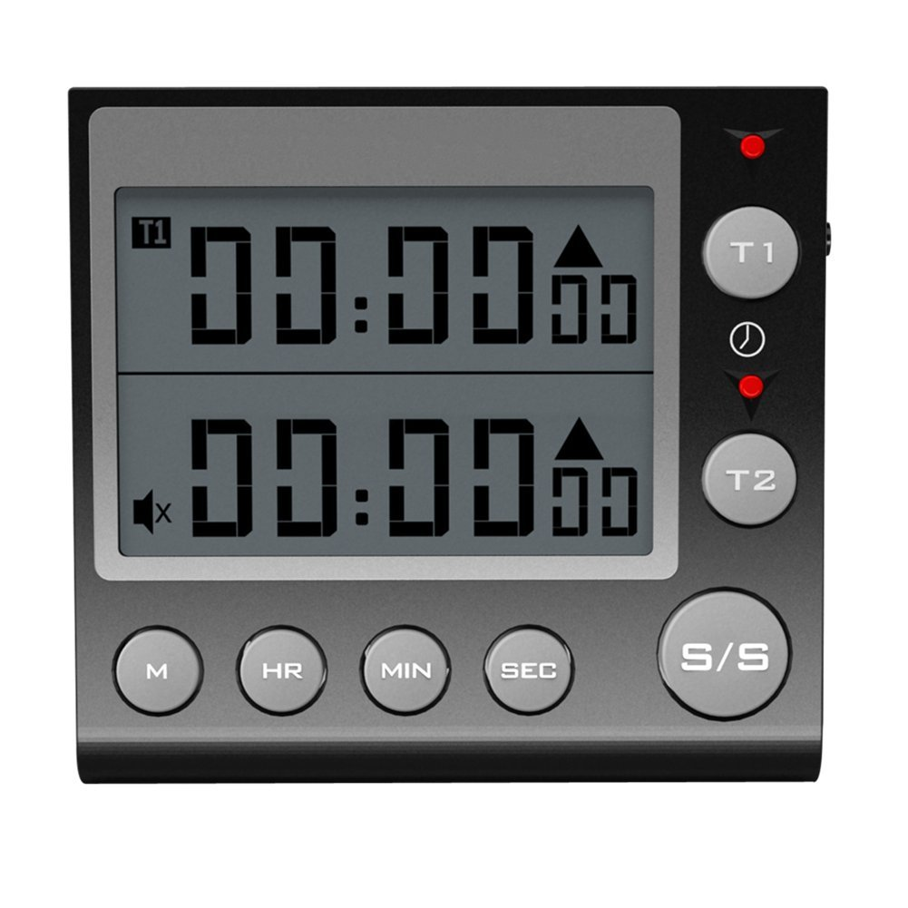 Digital Countdown Timer 2 Channel Flashing LED for Lab Electronic Kitchen Homework Exercise Gym Workout Cooking Sports Games and Classroom. (Black)