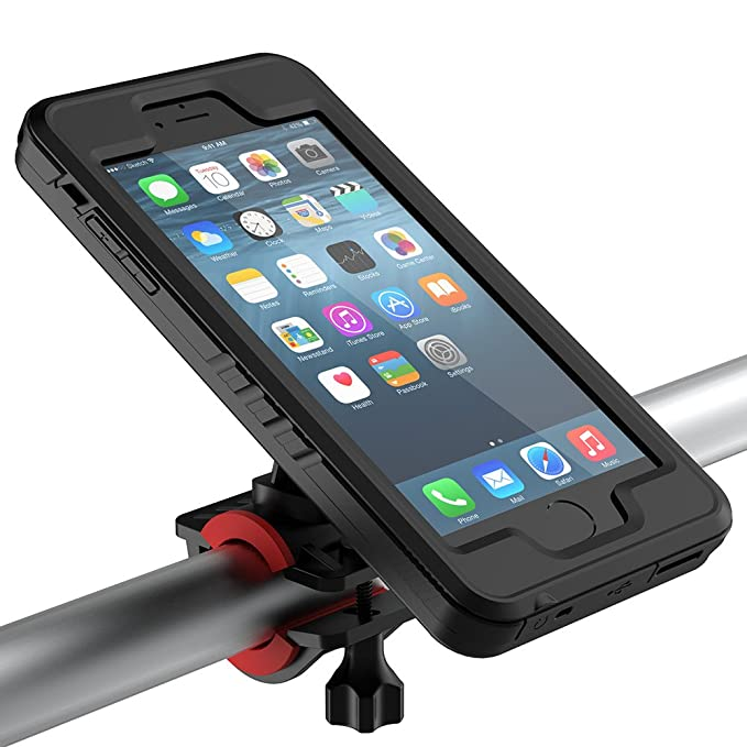 check out b2f3a d64c7 iPhone 6 Plus / 6S Plus Bike Mount Waterproof Case, Yuqoka Shock-Protected  Defender Bicycle Rack Handlebar Motorcycle Holder Cradle with 360 Rotate ...