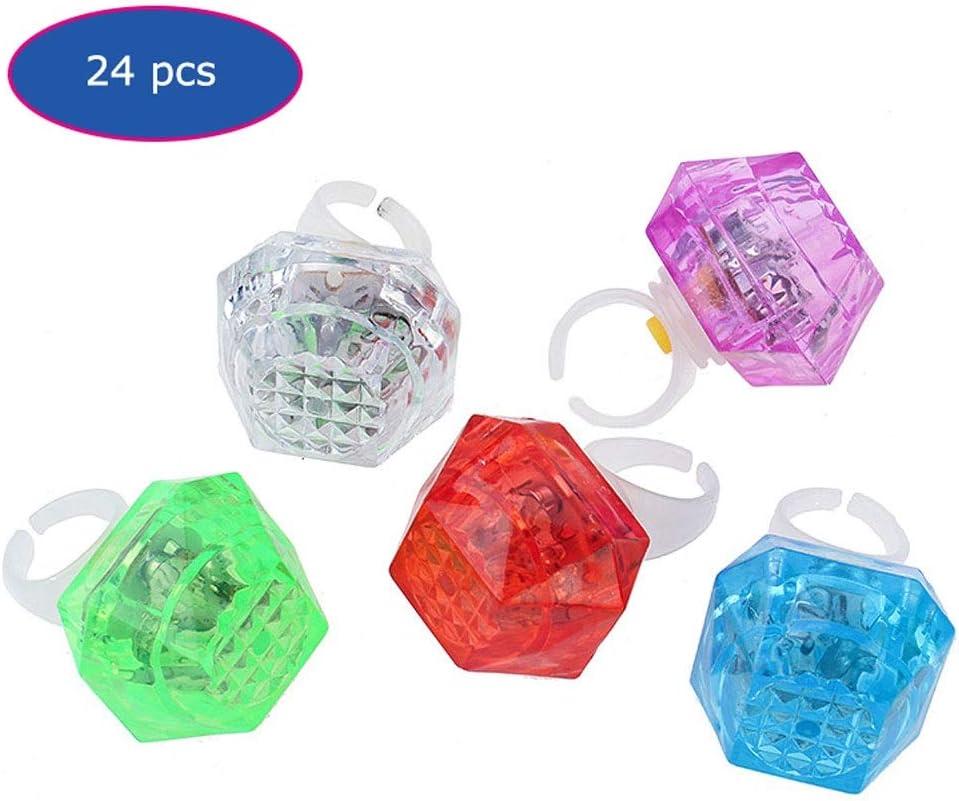 YZJL 24 Piezas de los niños Que Brilla Anillos de Diamantes en Forma de Dedo Anillo de luz LED Flash Juguete de los niños de Flash (Color Mezclado) Luminosa del Flash del Anillo de Dedo