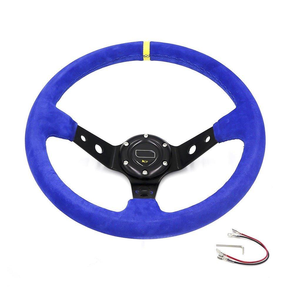 High Quality Suede Leather Racing Steering wheels OMP 14 inch 350mm Universal Deep Corn Drifting Sport Steering Wheel (Lavender) ika_jus