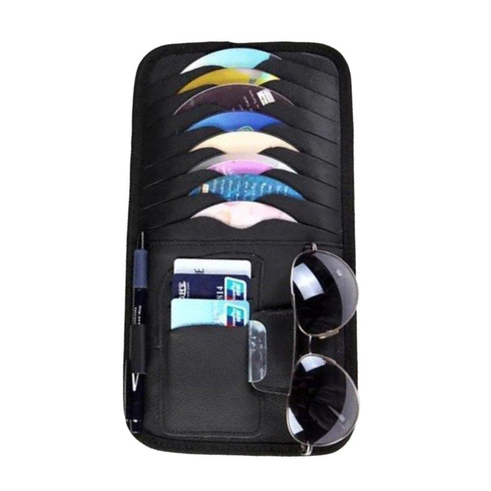 WINOMO Organizzatore CD Carta di credito Occhiali portaoggetto per aletta parasole di auto in Nero per Regalo di Festa del pap/à