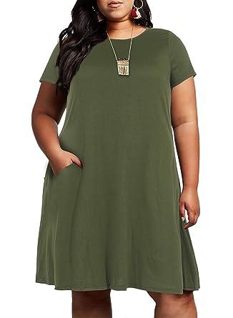 285d4c1014b Nemidor Women s Short Sleeve Jersey Knit Plus Size Casual Swing Dress with  Pocket NEM015 (Army