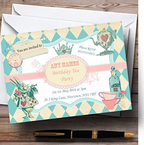 4 Personalised Alice in Wonderland Party Invitations /& Envelopes Any Occasion