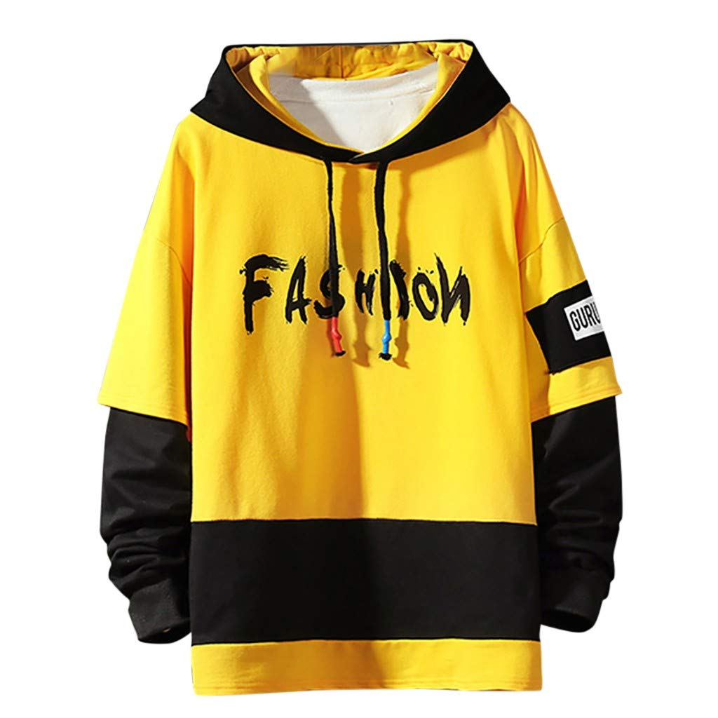 VZEXA Mens Hoodie Patchwork Color Block Hooded Sweatshirts Long Sleeves Fashion Print Tops Yellow by VZEXA