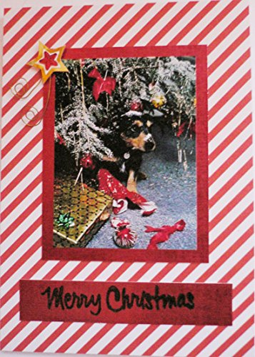 Christmas dog card Handmade Xmas Labrador puppy dog card Greetings card - Happy Thanksgiving, notecard,Tree Leaves card. Jingle bells, Tinsel (Tinsel Leaf)