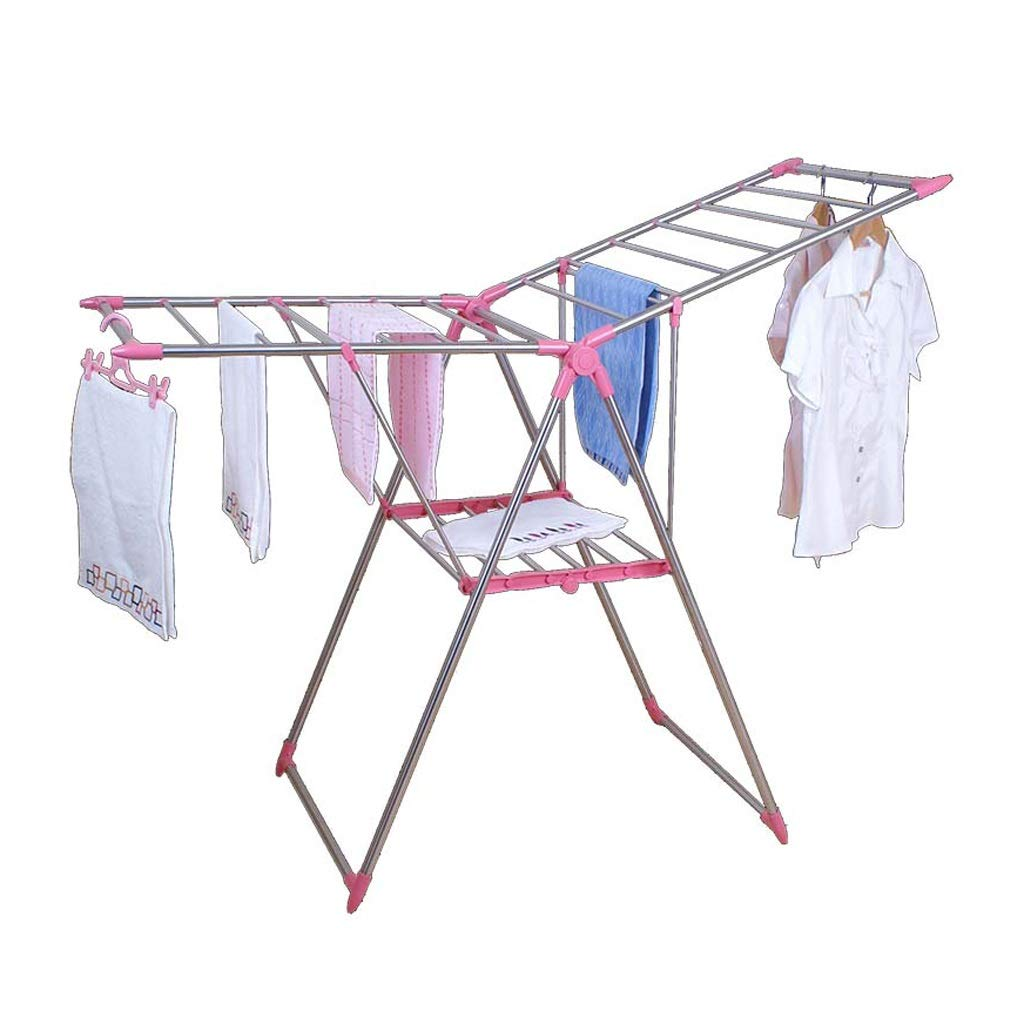 乾燥ラックステンレス乾燥ラック折りたたみ厚いバルコニー乾燥ラック家庭用乾燥ラック多機能乾燥ラック (Color : Pink) B07SMRMRHY Pink