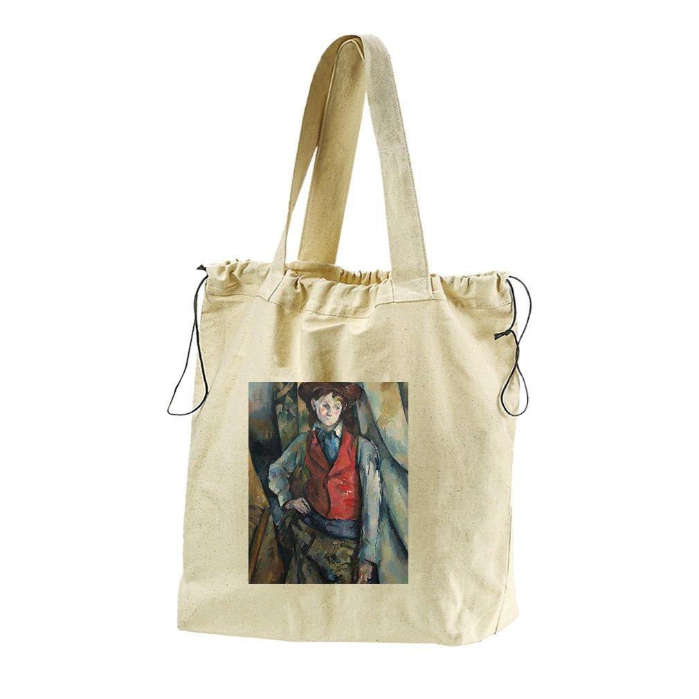 Boy In A Red Waistcoat (Cezanne) Canvas Drawstring Beach Tote Bag