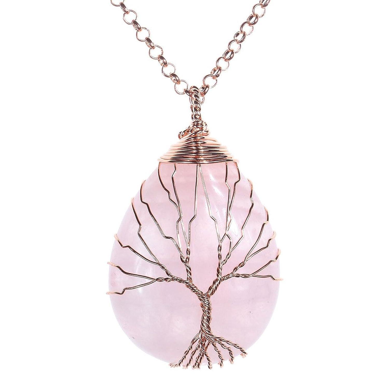 Jovivi Colgante de árbol de la vida enrollado alambre de cobre con
