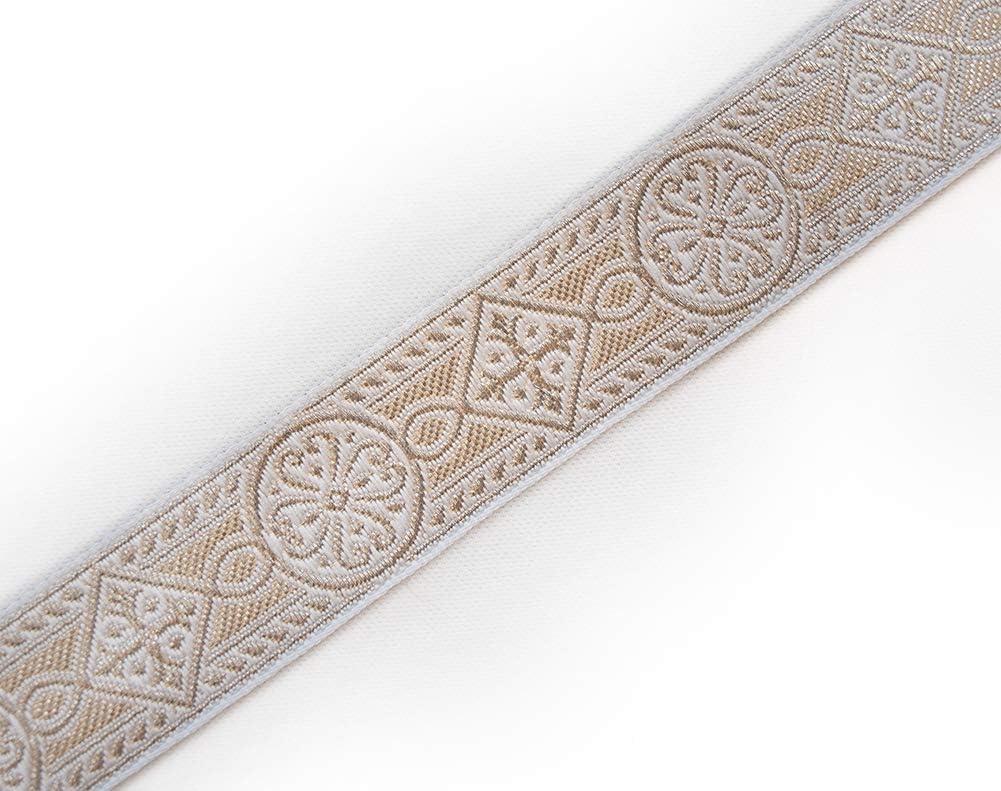 Liturgique Chasuble Jacquard Trim Or Blanc 2,5-4 et 6 cm de large