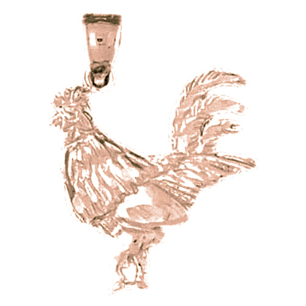 Jewels Obsession Bird Necklace 14K Rose Gold-plated 925 Silver Rooster Pendant with 16 Necklace