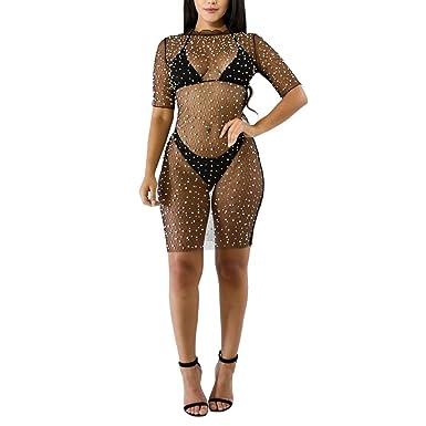 e6c7388870a76 Kafiloe Women Sexy Beading Pearl Mesh See Through Cover up Short T-Shirt  Mini Dress Clubwear at Amazon Women s Clothing store
