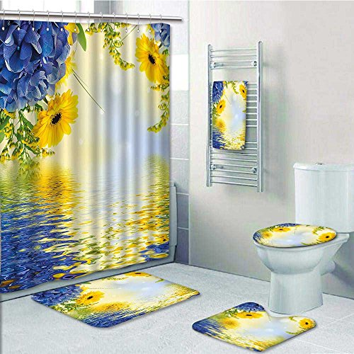 aolankaili 5 Piece Bath Set:1 Large Bat Mat 1 Contour Mat 1 Bath Towel, Yellow and Blue Romantic Bouquet of Hydrangeas and Asters on Water Background Pattern printing suit(Large (Aster Suit)