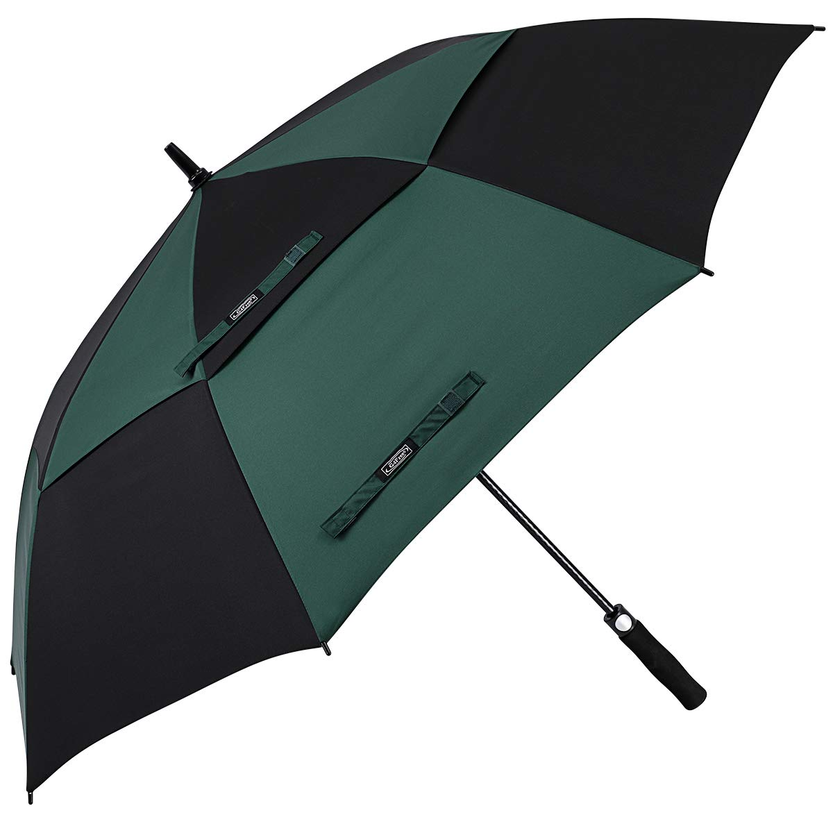 G4Free 68 Inch Automatic Open Golf Umbrella Double Canopy Extra Large Oversize Windproof Waterproof Stick Umbrellas(Black/Dark Green) by G4Free