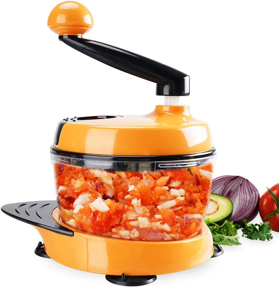 MIGECON Kitchen Manual Food Processor Meat Mincer Vegetable Chopper with Hand Crank and 3 Blades