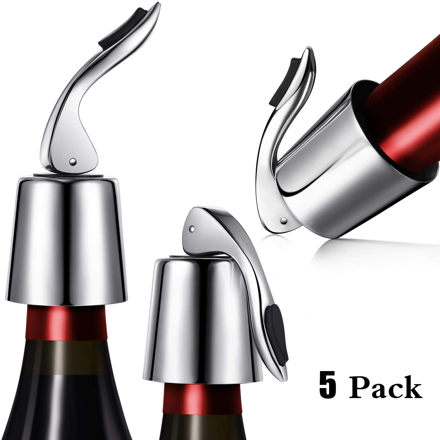 Stainless Steel Wine Stoppers Bottle Stoppers Vacuum Bottle Sealer Bottle Plug with Inner Rubber 1.6 x 3.7 inches (5 Pack)