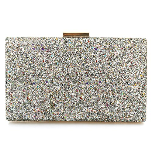 Fashion Womens Glitter Clutch Bag Sparkly Silver Black Evening Bridal Prom Party Handbag Purse Silver