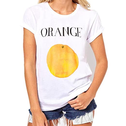 FORUU T Shirts for Women Plus Size O Neck Fruits Printing Tees Short Sleeve Blouse (