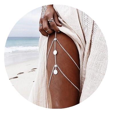 588e97ca183624 Amazon.com  JeVenis Sexy Harness Bikini Bralette Body Chains Crossover  Harness Waist Belly Body Chain Necklace (Silver Leg)  Jewelry