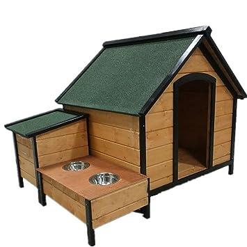 GUO Casa de madera resistente al agua mascota de la perrera caseta exterior del conjunto grande