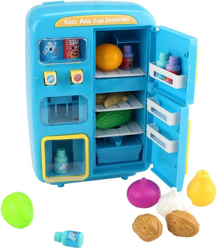 Xuways Toys 31Pcs Children Kitchen Toy Vending Refrigerator with Fog Sound Light Pretend Toy Gifts for Kids Toddlers Boys Girls Childs