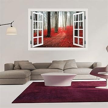 Fantastisch Die Nachahmung Von Windows Rote Blätter Wald Wand Aufkleber Für  Wohn /Schlafzimmer/Zimmer