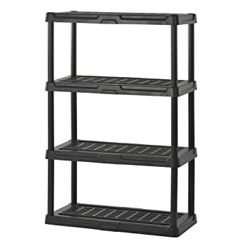 Enjoyable Sandusky Lee Ps361856 4B Plastic Shelving 36 Width X 56 Height X 18 Depth Black Interior Design Ideas Lukepblogthenellocom