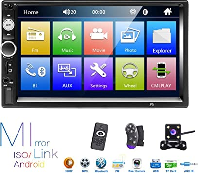 Liehuzhekeji 7 Double Din Car Stereo Audio Bluetooth MP5 Player USB FM Multimedia Radio with Steering Wheel Remote Support Mobile Phone Synchronization 4 LED Backup Camera Only Used in Android