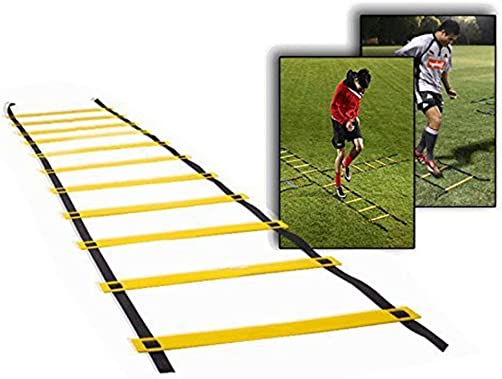Monkeybrother 10 Rung Adjustable Training Agility Ladders with Black Carry Case