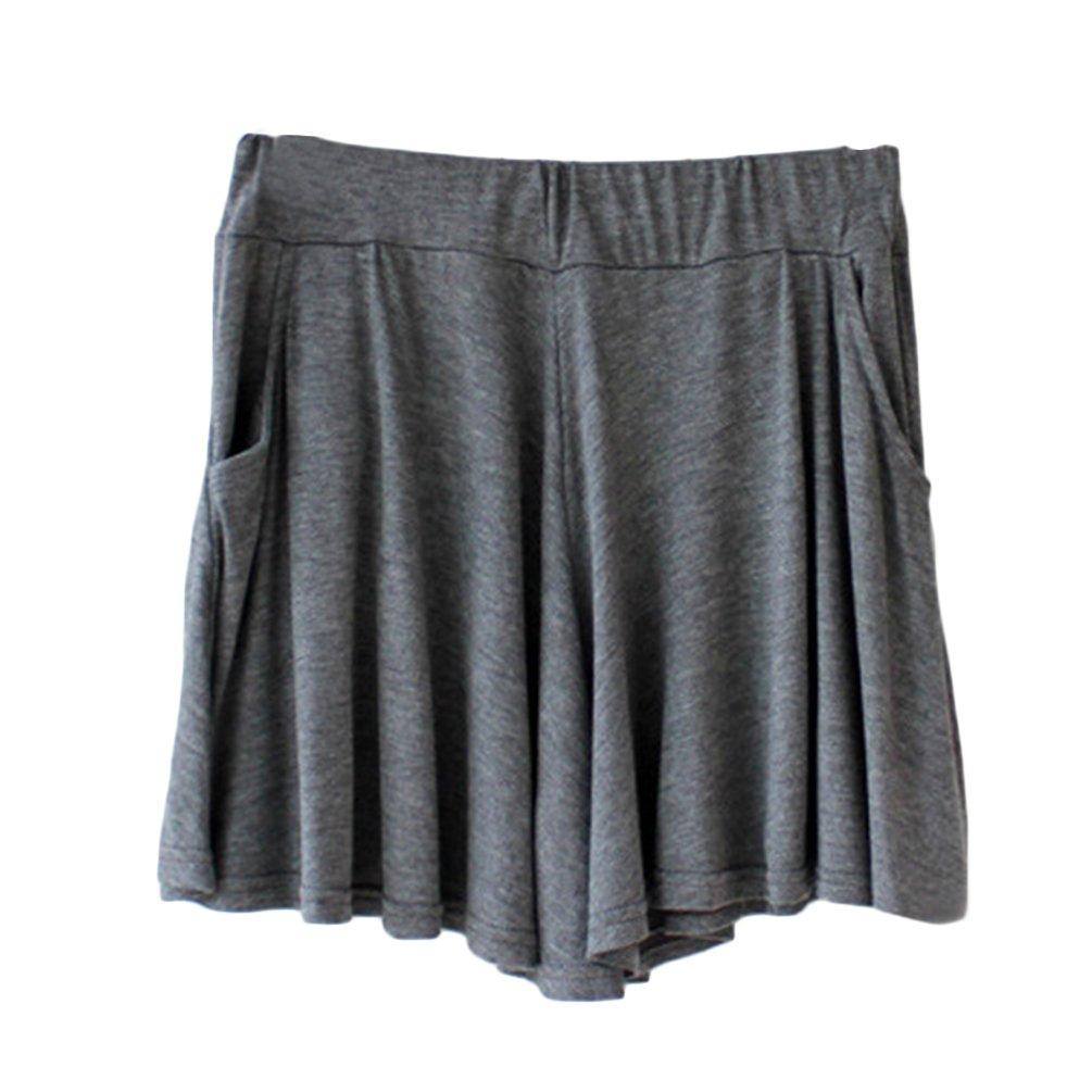 Women's Easy Shorts Elastic Waist Culottes Comfortable Relax Wear (Grey) Culottes Elastic Waist Shorts Flare Shorts Knee Length Loose Fit Shorts Mini Skirt Sheer Spats