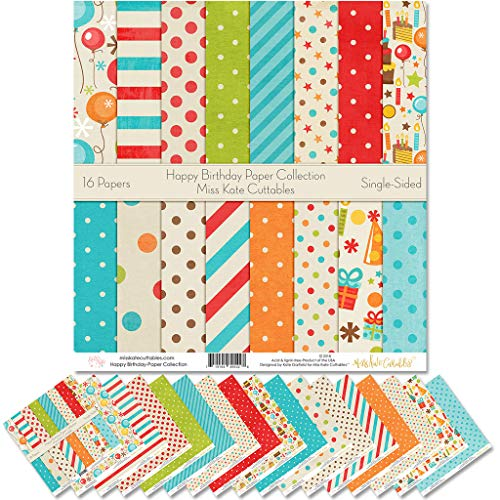 """Pattern Paper Pack - Happy Birthday - Scrapbook Premium Specialty Paper Single-Sided 12""""x12"""" Collection Includes 16 Sheets - by Miss Kate Cuttables"""