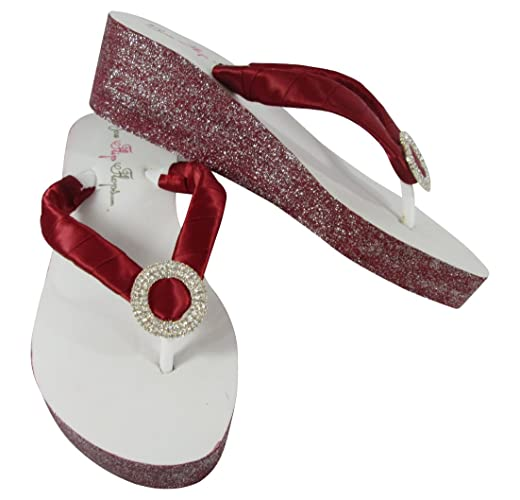 31f1c2d8e91fe Amazon.com: Color Wedge Flip Flops, Red Glitter on White or Ivory ...