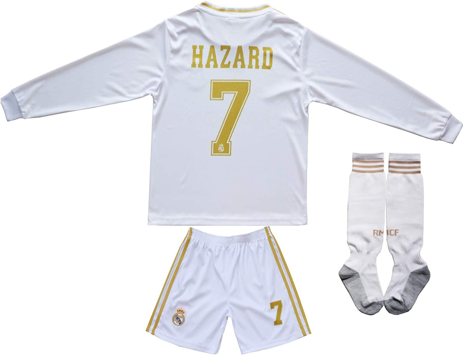 SecenMerch 2019//2020 New Hazard No #7 Real Madrid Third Green Blue Kids Soccer Jersey Kit Shorts Socks Set Youth Sizes