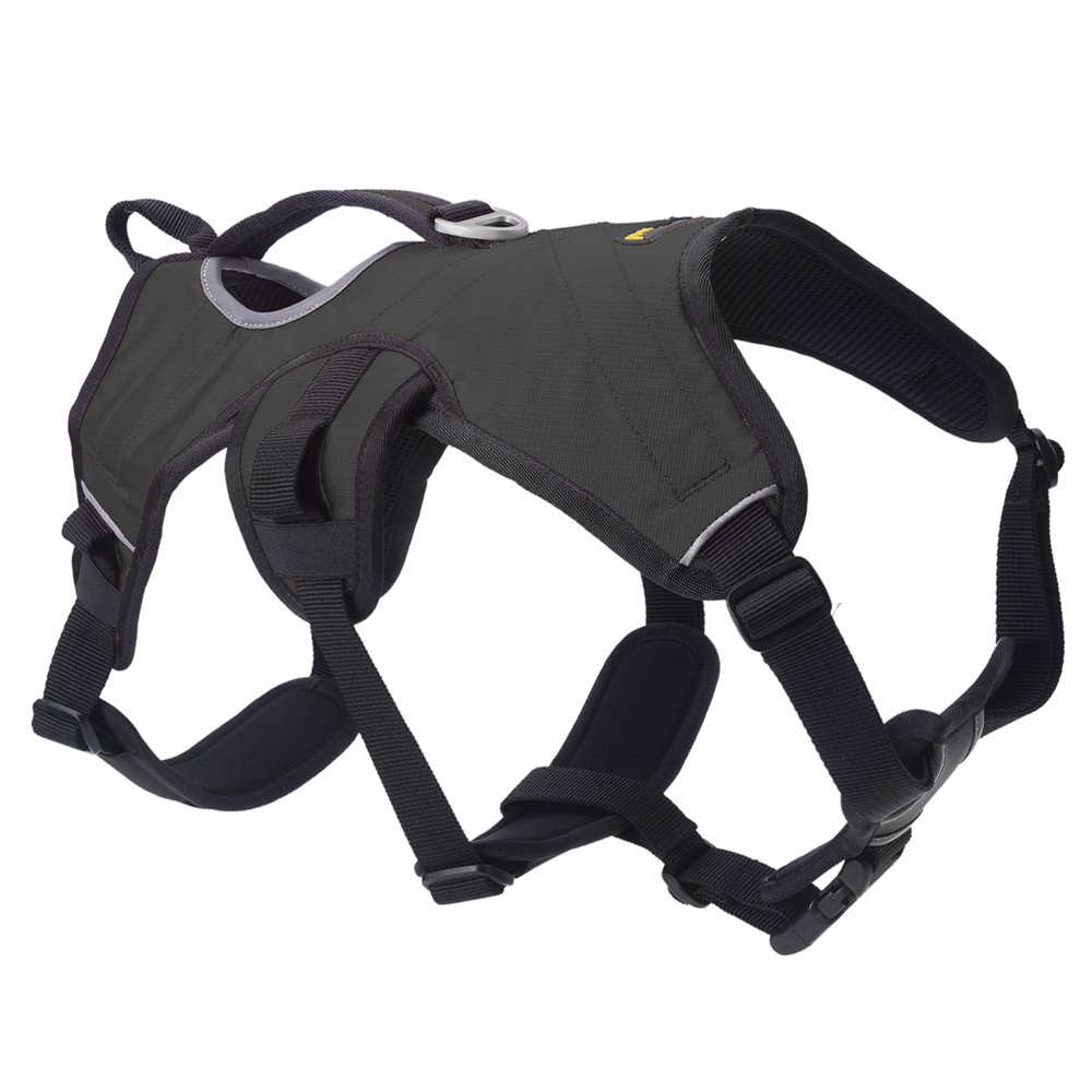 SCENEREAL Escape Proof Large Dog Harness - Outdoor Reflective Adjustable Vest with Durable Handle and Leash Ring for Medium Large Dogs Training Walking Hiking, Black L