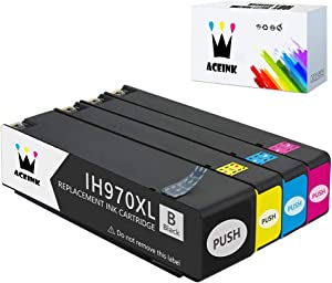 AceInk 4 Packs Compatible HP 970XL 971XL Ink Cartridges High Yield with Latest Chips Works for HP Officejet Pro X576dw X451dn X451dw X476dw X476dn X551dw Printers