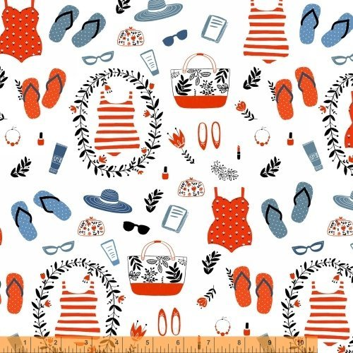 1/2 Yard - Swimsuits and Sandals cotton fabric on a White background - Officially Licensed (Great for Quilting, Sewing, Craft Projects, Throw Pillows & More) 1/2 Yard x 44