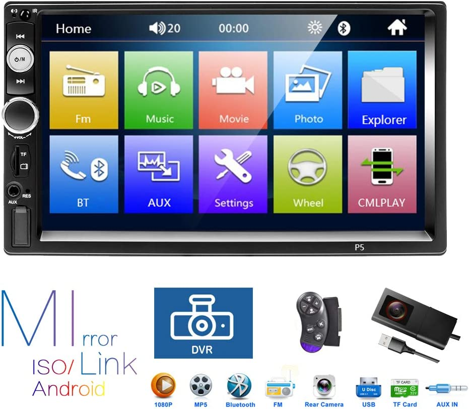Double Din Bluetooth Car Radio,7'' HD Touch Screen Dual System Car Radio, Support Mirror Link/Bluetooth/DVR/USB/MP5/FM/TF Card/Steering Wheel Learning/Rear View Camera/Remote Control