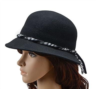Rugke Women  Winter Bow Bowler Top Wool Wedding Church Dress Hats Black b13c6ae3f39