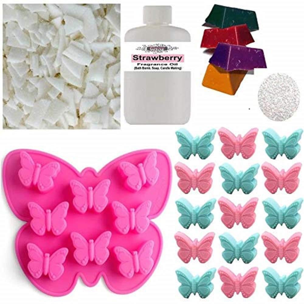 Wax Melt Making Kit (20) - Fizzywhiz - Eco Soy Wax - Fragrance Oil - Glitter - Candle Dye - Butterfly Mould - (108. Angel) NA