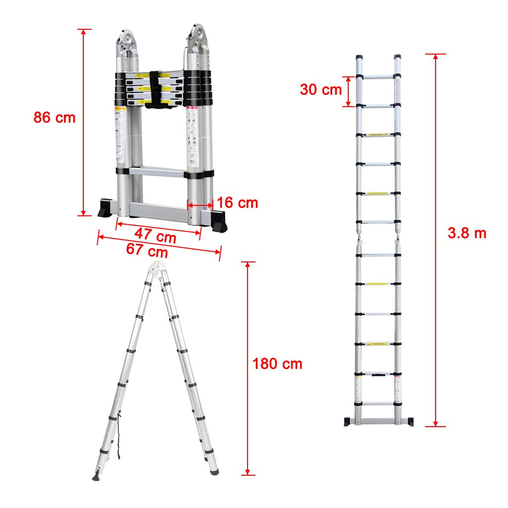 Finether 12.5ft Aluminum Telescopic Extension Ladder | Portable Heavy Duty Multi-Purpose Telescoping Ladder, EN 131 Certified A-Frame Ladder with Hinges,330 Lb Capacity by Finether (Image #5)